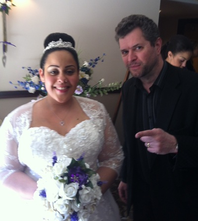 Man and bride in white dress