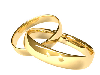 Two linked wedding rings