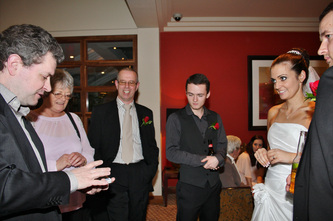 Wedding reception with magician