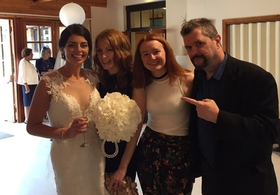 Mike with wedding guests